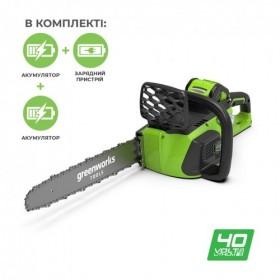 Аккумуляторная цепная пила Greenworks GD40CS40K2